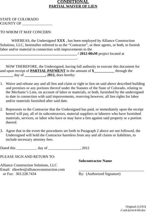 Download Colorado Lien Release Form For Free Formtemplate Partial Waiver Of Lien Template