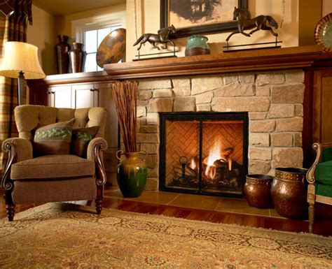 fireplace design ideas with stone fireplace