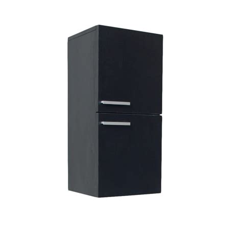 fresca black bathroom linen side cabinet w 2 storage