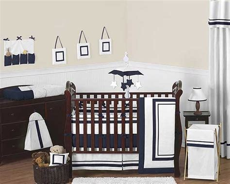 Crib Hotel by Hotel White Navy Blue Baby Bedding Set By Sweet Jojo