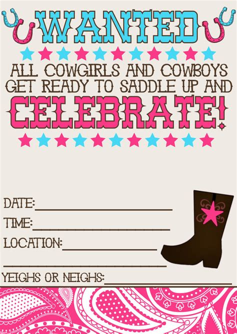 8 best images of printable western birthday invitations