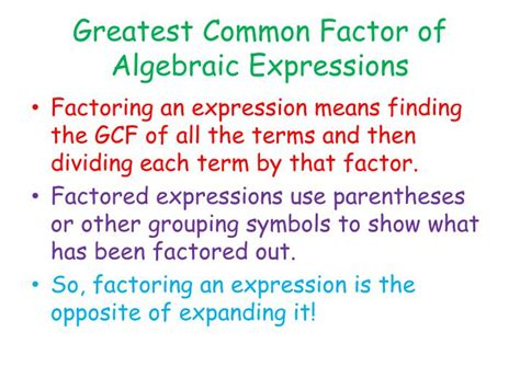 Factor The Common Factor Out Of Each Expression Worksheet by Ppt Factoring And Expanding Linear Expressions