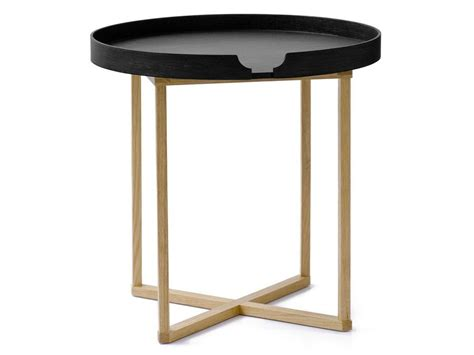 round wood tray table   lift off black tray table