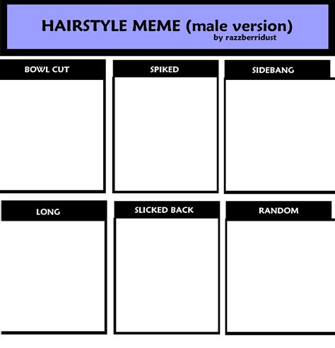 Hairstyle Meme - hairstyle meme male version by razzberridust on deviantart