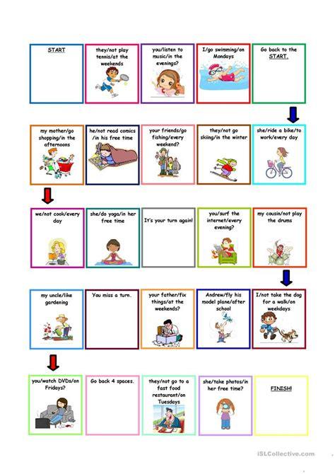 printable board games for teachers present simple boardgame worksheet free esl printable