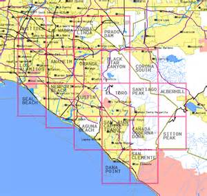 where is orange county california on map topographic maps of orange county california