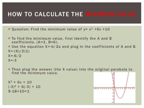 How To Find The Quadratic Equations Minimum Value Turning Point