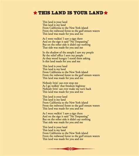 printable lyrics this land is your land 1000 images about c songs on pinterest