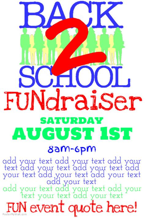 simple back to school fundraiser flyer poster template