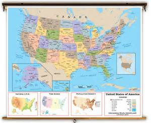united states intermediate political classroom map from