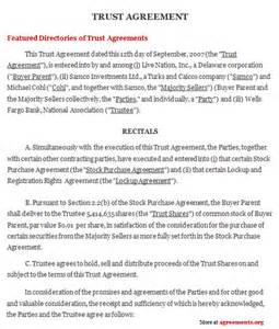trust agreement template trust agreement sle trust agreement agreements org