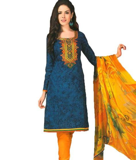 Cotton Dress Yellow Blue 30086 alicolours blue and yellow embroidered cotton dress material buy alicolours blue and yellow
