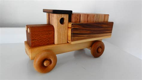 Handmade Wood Toys - handmade wooden cargo truck w plain blocks by kazwoodcraft