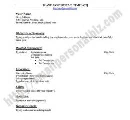 printable basic resume template with outline blank form