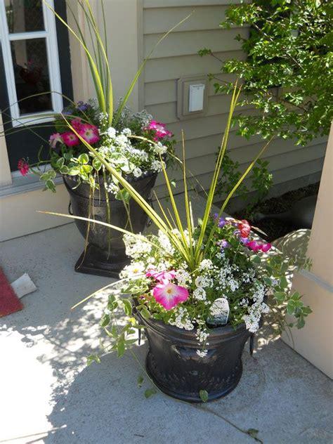 outdoor flower pot arrangement lawn garden pinterest