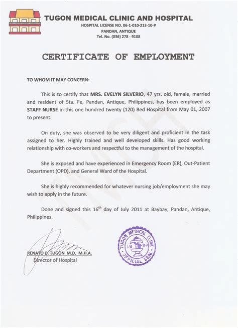 search results for certificate of employment samlpe