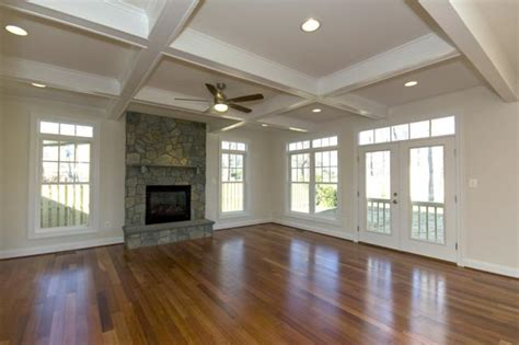 family room boxed beam ceiling