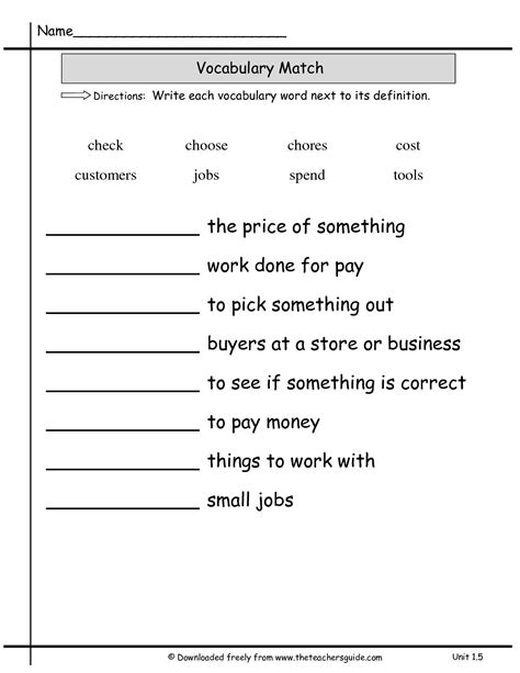 Vocabulary Matching Worksheet by 14 Best Images Of Matching Definitions To Words Worksheets