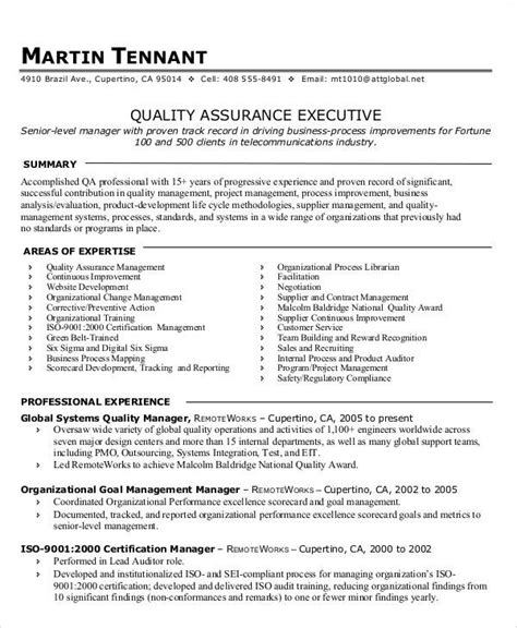 Quality Assurance Resume by 14 Awesome Quality Assurance Resume Sle Templates