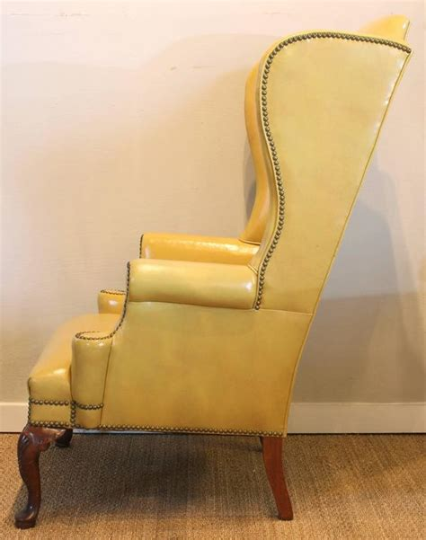 yellow leather recliner chair mustard yellow leather wing chair at 1stdibs