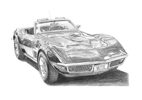 vintage corvette drawing pencil drawings 68 corvette pencil drawings