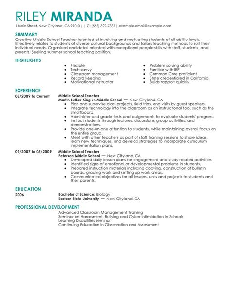 Resume Exles For Beginning Teachers Best Summer Resume Exle Livecareer