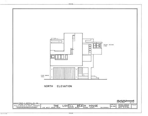 lovell beach house plans rudolph m schindler lovell beach house 1926 north elevation pinterest beaches