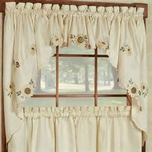 Sunflower Valance Curtains Sweet Home Collection Sunflower Embroidered Kitchen 30 Quot Swag Valance Curtain Reviews Wayfair