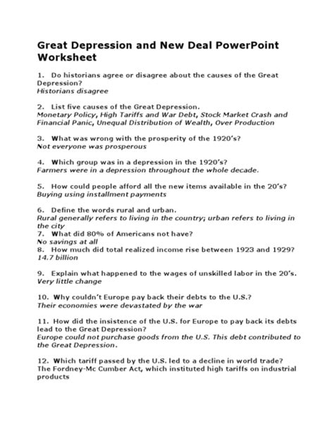 great sheets the great depression worksheets davezan