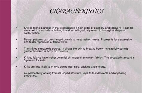 characteristics of knitted fabrics knitting