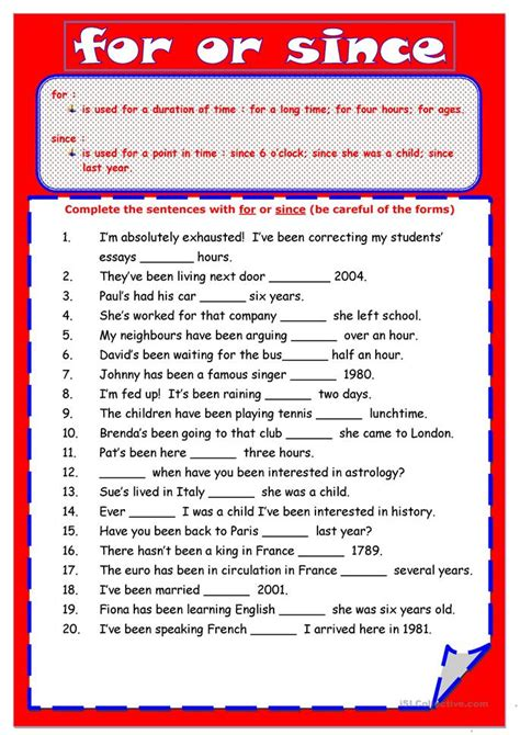 since for worksheet 81 free esl present tense for or since worksheets