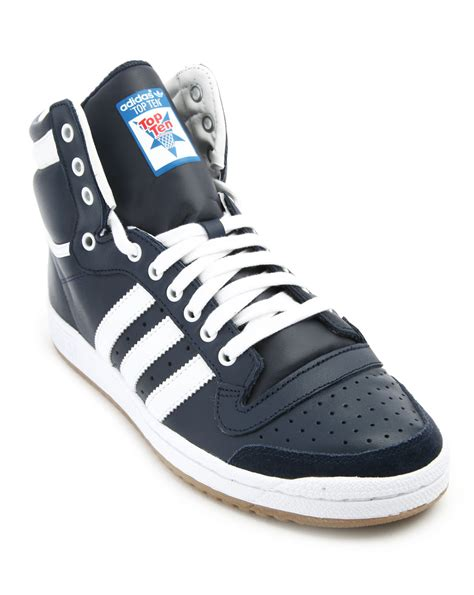 blue leather sneakers adidas top ten hi blue leather sneakers in blue for lyst