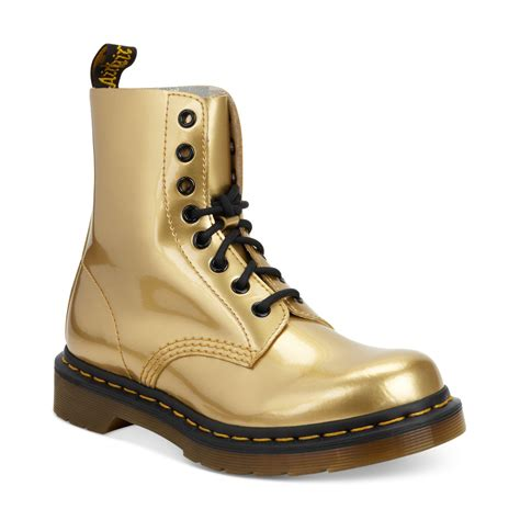 dr marten boots dr martens ankle boots in gold gold metallic lyst