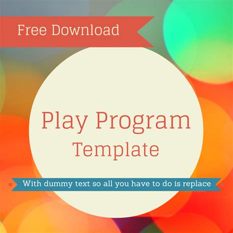 Free Play Program Template For Download Use This In Your Production To Create A Great Show Play Program Template