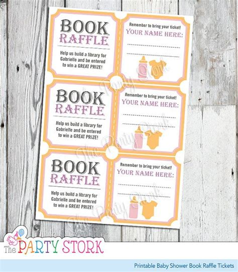 Free Printable Baby Shower Raffle Tickets by Baby Shower Book Raffle Tickets Pink For Printable