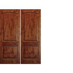 krosscore cherry two panel top rail arch interior door at home depot inside doors house 8 foot tall mahogany tiffany arch top double wood entry