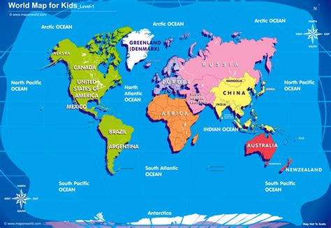 Printable Countries Of The World Map For Kids | mrs world map country