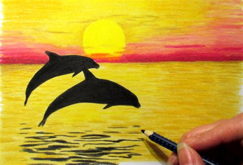 sunset colored pencil sunset drawing in colored pencil how to draw a sunset with