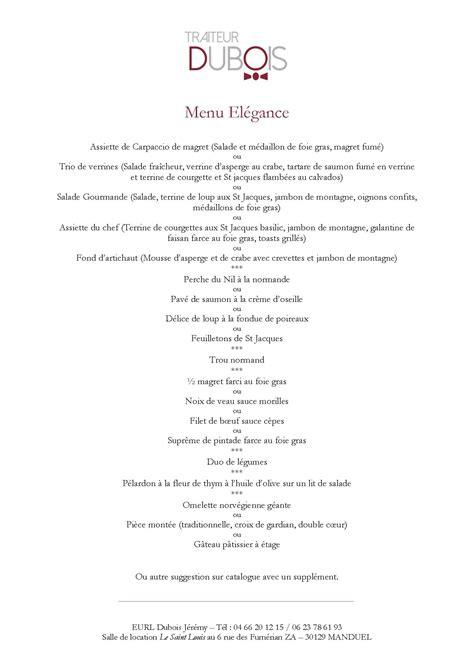 Traiteur menu marriage of figaro