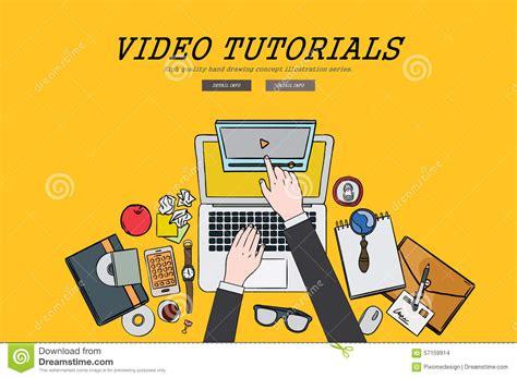 tutorial flat design web video design illustration vector illustration