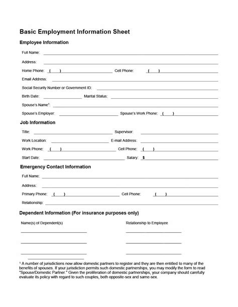 employee information form office templates