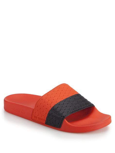 Adidas Jawpaw Slip On Oranye adidas by raf simons adilette slip on sandals in orange orange navy lyst