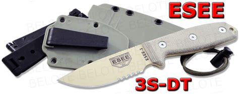 Swiss Army Hardmika Dt esee model 3 desert blade serratd edge foliage green sheath clip plate 3s dt ebay