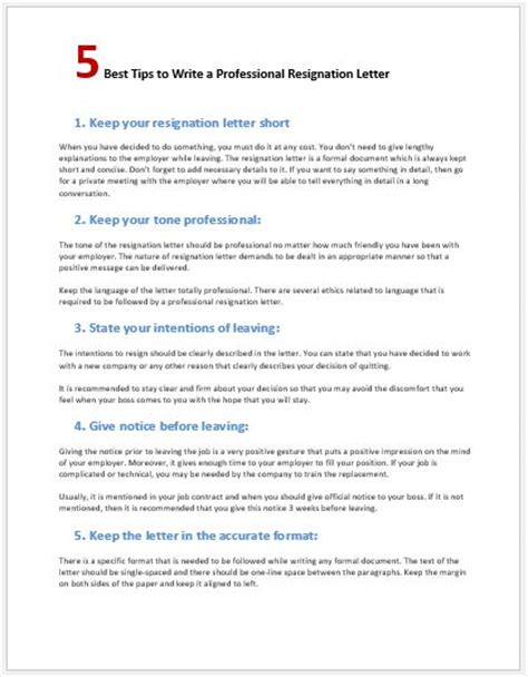 Resignation Letter Format Margins 5 Tips To Write A Professional Resignation Letter Word Excel Templates