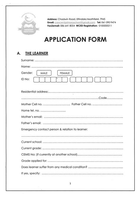 crescent primary school 187 application form