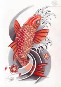 colorful koi fish tattoo design