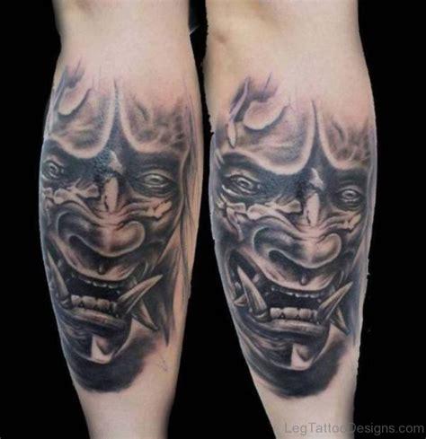 white hannya mask tattoo 40 stunning mask tattoos on leg