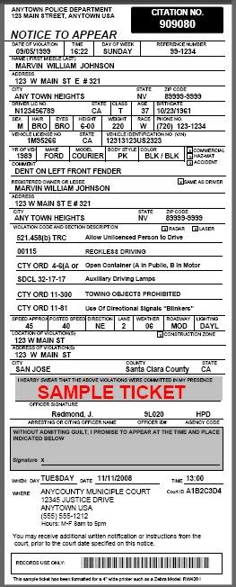 citation template parking ticket