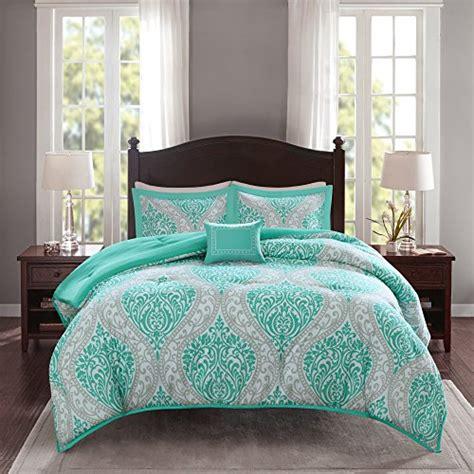 Comfort Spaces Kashmir Comforter Set Comfort Spaces Coco Comforter Set 4 Teal And Grey Printed Damask Pattern