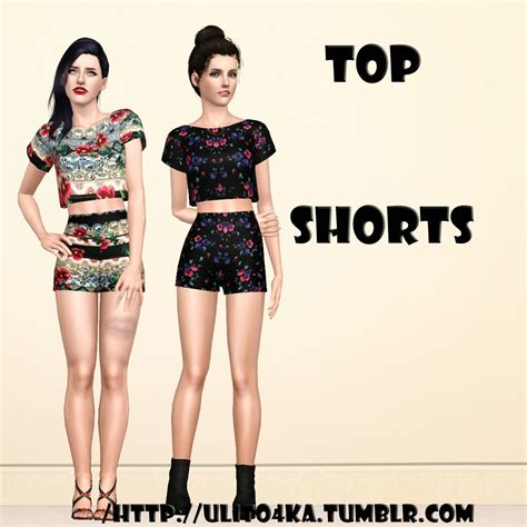 sims 3 cropped top and shorts custom content